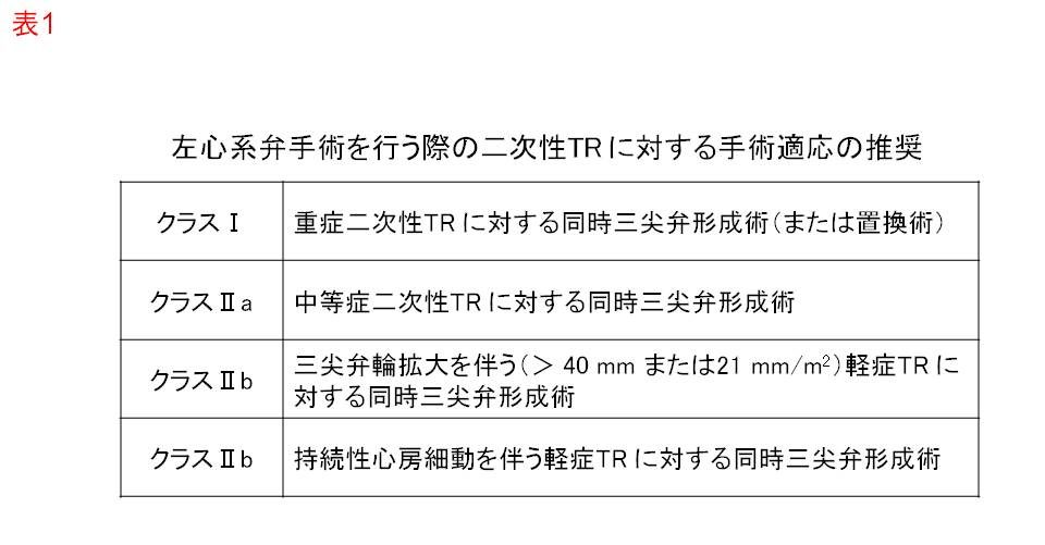 左心系弁手術を行う際の二次性三尖弁閉鎖不全症に対する手術適応の推奨(文献2)より引用