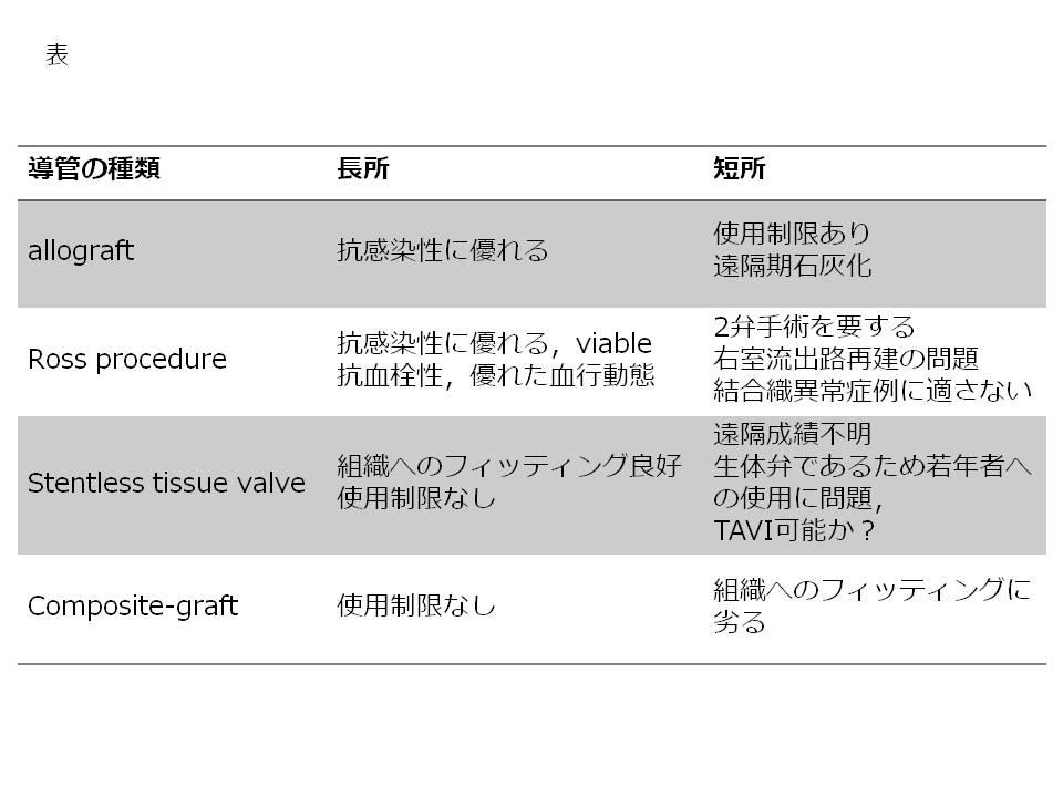 表:各種導管の長所,短所
